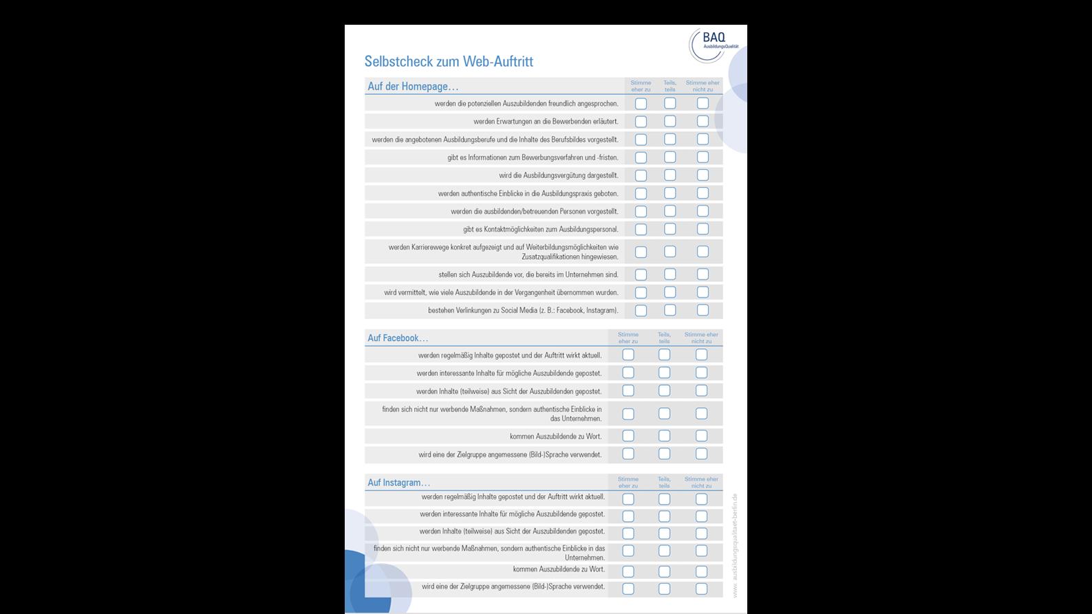 Vorschaubild der Checkliste zum Webauftritt
